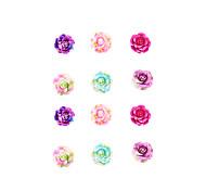 Fashion Women Elegant Small Resin Rose Flower Stud Earring Set