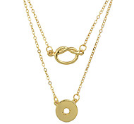 Gold Silver Color Double Layers Pendant Necklace