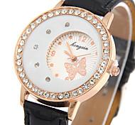 Women's Fashion Quartz Wrist Casual Watch Butterfly PU Belt Round Alloy Dial Watch Cool Watch Unique Watch Dress Watch