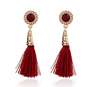 New Arrival Vintage Fashion Red Tassel Earrings Gold Plated Pearl Flower Dangle Earrings Women Party Jewelry