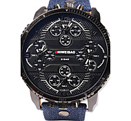 SHI WEI BAO Men's Military Watch Three Time Zones Quartz Leather Band Casual Blue