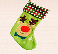 1pc Green Xmas Deer Cartoon Christmas Stocking Decoration Candy Bag Home Indoor Window Supplies