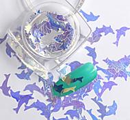 2g/box New Symphony Blue Dolphin/Hexagon/Note Paillette Glitter Nails 3d Slice Powder Set DIY Design