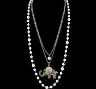 Long Imitation Pearl Chain Rhinestone Elephant Pendant Necklaces