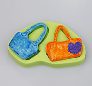 2016 New Ms. bag shape fondant cake decorating silicone mold  soap silicone mold Color Random