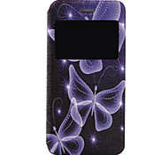 Blue Butterfly Pattern Fenestration PU Material Phone Flip Case with Window for iPhone 7 7 Plus