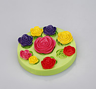 Пищевые сорта силиконовые розы плесень цветок фондант торт формы для мыла шоколад цвет случайный