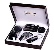 Set of 4 Men's Father Gift Leather Band Watch Jewelry Set with Belt Keychain Sunglass Box Watch Box