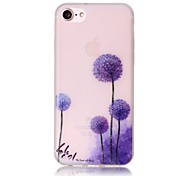 Glow in the Dark Purple Dandelion Pattern Embossed TPU Material Phone Case for  iPhone 7 7 Plus 6s 6 Plus SE 5s 5