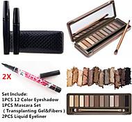 12 sombras de ojos colores de ojos a prueba de agua conjunto de pestañas rimel&2x eyeliner líquido impermeable