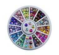 4mm Colorful Sharp Crystal Nail Rhinestone Wheel Shiny Glitter Nail Art Tips Decoration Tools
