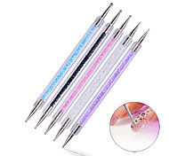 5pcs/set Pro 2 Ways Acrylic Nail Art Care Tips Crystal Painting Dotting Pens Manicure Pen Dot Nails Beauty Tools