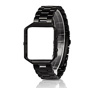 Luxury 316L Stainless Steel Smart Watch Band with Metal Frame Replacement Strap for Fitbit Blaze 23mm