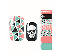 Fashion Charmming Halloween Skull Geometry Nail Decal Art Sticker Gel Polish Manicure Beautiful Girl