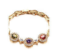 Women's Fashion Grace Yellow Purple And Red Zircons High-Quality Brass Material Gold Plated  Chain Bracelets(1Pc)