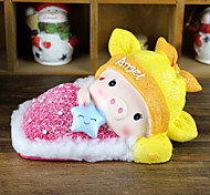 Size Sleeping Pig Cartoon Ornaments Resin Piggy Bank Papa Couple Doll Christmas New Year Gift