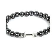 Beadia 1Pc Live Lift Dumbbell Bracelet 8mm Non-Magnetic Hematite Beads Strand Bracelet Christmas Gifts
