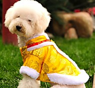 Cat Dog Coat Sweatshirt Dog Clothes Winter Spring/Fall Embroidered Fashion New Year's Yellow Red