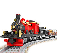 Vintage Train Puzzle Plastic Assembling Building Block Toy For Children Diy