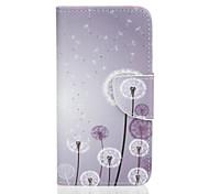 Corpo Completo carteira / Entrada de Cartão / com suporte / Giro / Em relevo / Estampa dandelion Couro Ecológico Duro Case Capa Para