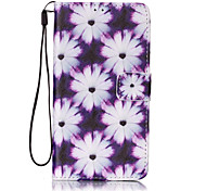 Purple chrysanthemum Pattern PU Leather Lanyard phone Case For LG K7 LG LS775/STYLUS2