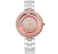 WEIQIN Womens Watch Fashionable Scroll Rhinestone Bezel Diamond Case Beautiful Fashion Ceramic Watches