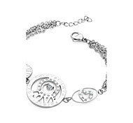 Heart Shape Rhinestone LOVE Titanium Steel Charm Bracelets