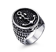 Men's Fashion Individual  Ship's Anchor Stainless Steel High Polised Band Rings(1Pc) Christmas Gifts
