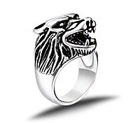 Vintage Ring Men Titanium Steel Punk Silver Wolf Head Ring Men Jewelry bague homme