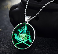 Halloween Skeleton Terrorist Evil Holiday Gifts Personality Silver Necklace In the Evening Glow Green