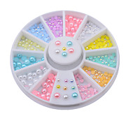 12colors Mix Sizes Pearl Nail Art Tips Decoration Wheel Glitter Nail Rhinestone Decoration Tools