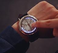 Masculino Relógio de Pulso Digital LED / Touchscreen Couro Banda Preta marca-