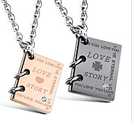 Gold Plated Diamond Pendant Necklace titanium love lovers