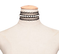 Women's Choker Necklaces Pearl Lace Sexy Fashion White Black Jewelry Wedding Party Daily Casual 1pc