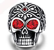 Punk Vintage 316L Stainless Steel Silver Skull Men Finger Ring Jewelry Red Gem Ring Men
