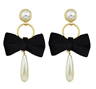 Fashion Imitation Pearl Bowtie Shape Earrings