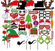 50pcs foto adereços enfeites tampão do Natal&lábios vermelhos&bigode