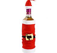 популярный набор высокого класса плюшевой Санта-Клаус крышка красного вина мешок бутылка охватывает рождественские крытый рождественские
