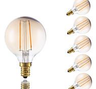 2W E12 Lâmpadas de Filamento de LED G16.5 2 COB 160 lm Âmbar Regulável V 6 pçs