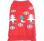 Cat Dog Sweater Dog Clothes Winter Spring/Fall Snowflake Christmas New Year's Red