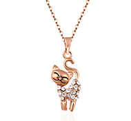 Fashion Cute Gold Tone Pave Crystal Cat Pendant Necklace