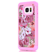For Samsung Galaxy S7 S7edge Pink Flowers Pattern Drill TPU PC Combo Material Mobile Phone Shell Case