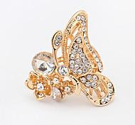 Women European Style Fashion Cute Shiny Rhinestone Butterfly Statement Ring