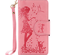 For Samsung Galaxy A510 A310 PU Leather Material Woman and Cat Pattern Embossed 9 Cassette With Mirror Phone Case