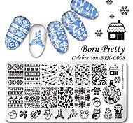 родился довольно 126cm прямоугольник искусства ногтя шаблон штамп рождества изображения пластины торжества BPX-L008