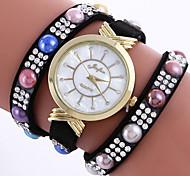 New Fashion Luxury Multicolor Rhinestone Leather Bracelet Women Quartz Wristwatch Relogio Feminino Gift