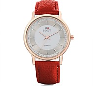 Unisex Dress Watch Fashion Watch Water Resistant / Water Proof Quartz Leather Band Casual Black Red Brown