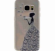 For Samsung Galaxy S7 edge EFORCASE Butterfly Girl Painting TPU Phone Case Samsung Galaxy S7 S5 S5mini