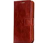 For iPhone 7 Case / iPhone 7 Plus Case / iPhone 6 Case Card Holder / Wallet / Flip Case Full Body Case Solid Color Hard PU Leather Apple