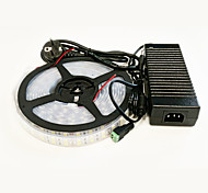 zdm impermeable 5m 140w 600 * 5050 SMD 9600lm cálida doble envoltura frío / blanco llevó adaptador de luz de la barra de configuración 12v